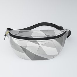 Exclusive strict gray monochrome pattern of chaotic black and white glass fragments, metal, glare. Fanny Pack