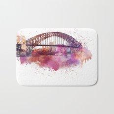 Sydney Harbor Bridge Watercolor Art Bath Mat