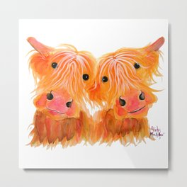 Scottish Highland Cows ' THE HIGHLAND MOOS ' by Shirley MacArthur Metal Print