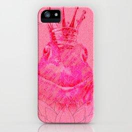 Pink Lotus Frog Queen Print iPhone Case