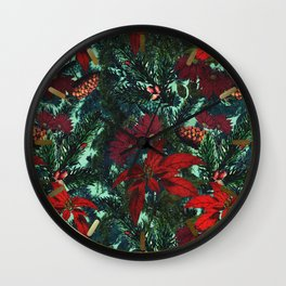 Poinsettia and Pine Wall Clock