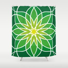 Shades of Green   Abstract Flowers   Geometric Pattern   Green and White   Shower Curtain