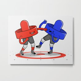 Air Hockey Brawl Metal Print