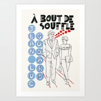 godard Art Prints featuring Breathless - A Bout de Souffle by Matou en Peluche