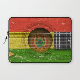 Old Vintage Acoustic Guitar with Bolivian Flag Laptop Sleeve