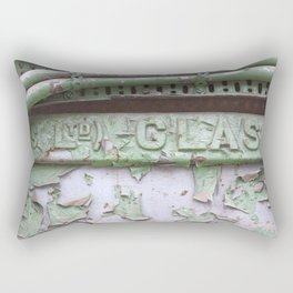 Flaked green paint on old press from Glasgow Rectangular Pillow