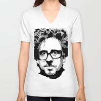 tim burton V-neck T-shirts featuring Tim Burton in colors by burro by BURRO