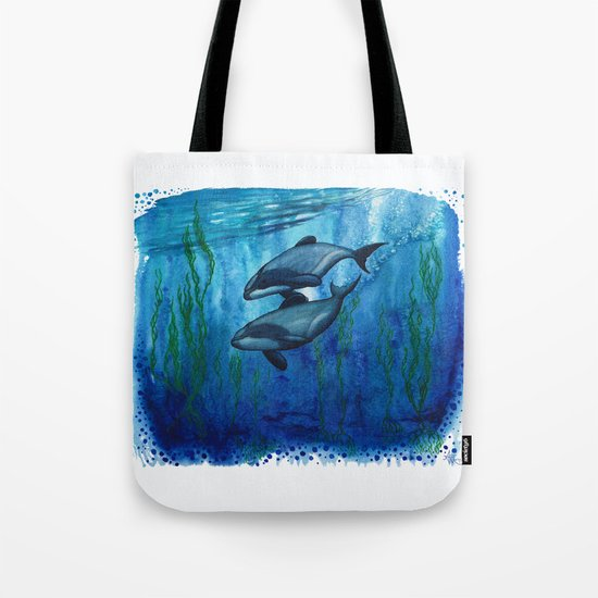 """""""Maui's Magic"""" by Amber Marine ~ (Maui's Dolphins) Watercolor Painting, (c) 2016 Tote Bag"""