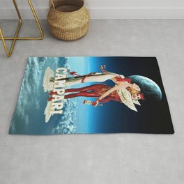 Classic Campari Alcoholic Angel & Devil - Earth, Sun, and Stars Aperitif Advertising Vintage Poster Rug