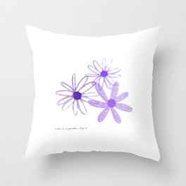Life is A Garden in Purple Throw Pillow