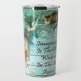 Floral Alice In Wonderland Quote - Imagination Travel Mug