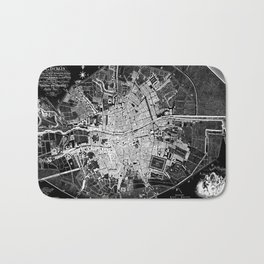 Dublin Map 1797 Vintage Reverse Black and White Bath Mat