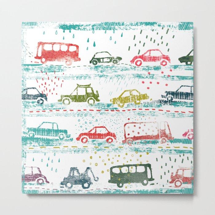 cars in the rain Metal Print