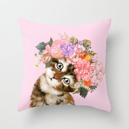 Baby Cat with Flower Crown Throw Pillow