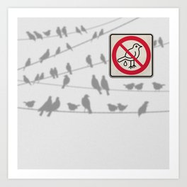 Birds Sign - NO droppings 4 Art Print