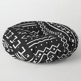 Black hand drawn mudcloth Floor Pillow