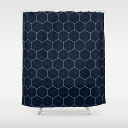 Indigo Honeycomb Sashiko Shower Curtain