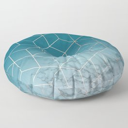 Gold Geometric Cubes Teal Marble Deco Design Floor Pillow