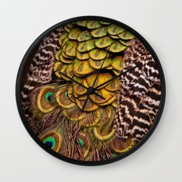 Peacock Tail Feathers Wall Clock