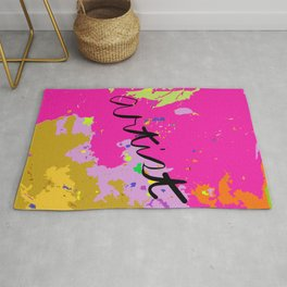 Artist paint drop cloth in pink Rug