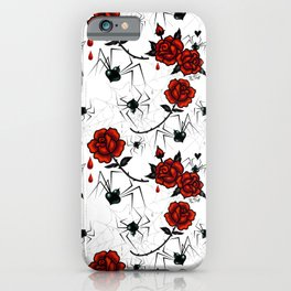 Black Widow Spider with Red Rose iPhone Case