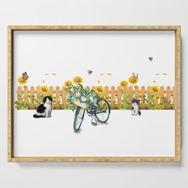 Cats Summer Garden Bike Butterflies Serving Tray