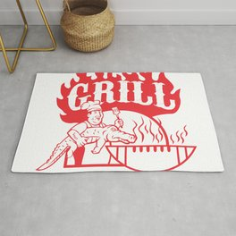BBQ Chef Carry Gator Grill Retro Rug