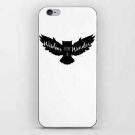 Wisdom Begins in Wonder - Black and White Owl Vers. iPhone Skin