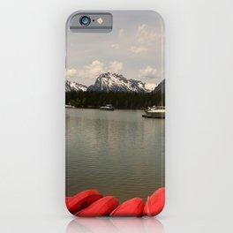 Canoe Meeting At Jackson Lake iPhone Case