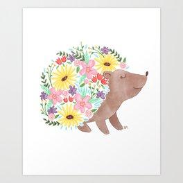 Flowering Hedgehog Art Print