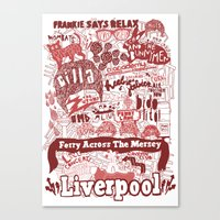 liverpool Canvas Prints featuring Liverpool by leeann walker illustration