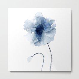 Blue Watercolor Poppies #2 Metal Print