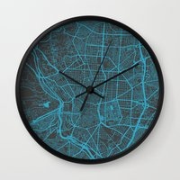 real madrid Wall Clocks featuring Madrid by Map Map Maps