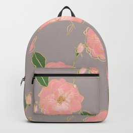 Elegant Pink & Gold Watercolor Roses Gray Design Backpack