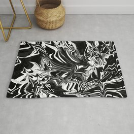 highly warped, black and white Rug
