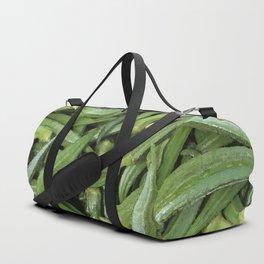 Green Okra Vegetables Illustration Duffle Bag