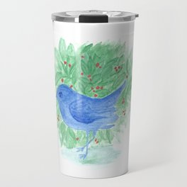 Blue bird and shrub watercolor painting Travel Mug