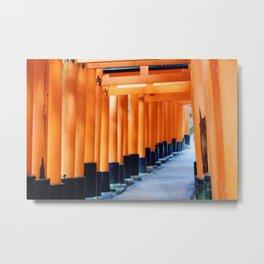 The Orange Torii Gates at Fushimi Inari Taisha, Kyoto Metal Print