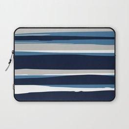 Striped Modern Beach Landscape Blue Grey Laptop Sleeve
