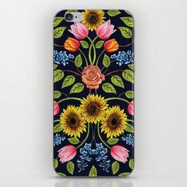 Dark Floral Print - Sunflowers, Tulips, Roses & Delphinium iPhone Skin