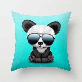 Cute Baby Panda Wearing Sunglasses Throw Pillow