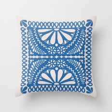 Fiesta de Flores Blue Throw Pillow