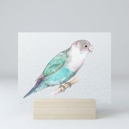 Pale blue lovebird Mini Art Print