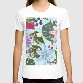 Lily, rose and bud. Vibrant color pattern T-shirt