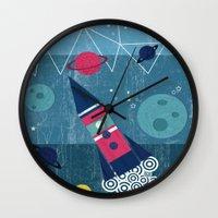 spaceship Wall Clocks featuring Spaceship by Kakel