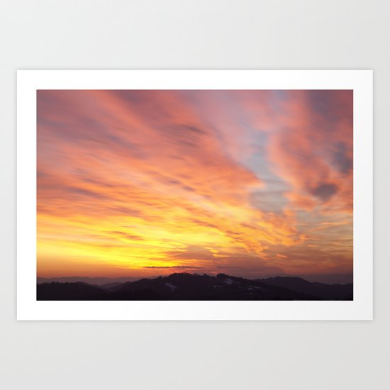 flaming sunset Art Print
