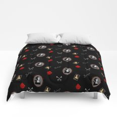 Anne Boleyn red on black roses keys Comforters