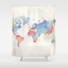 Watercolour world map Shower Curtain
