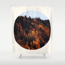 Mid Century Modern Round Circle Photo Graphic Design Autumn Orange Forest Hill Shower Curtain