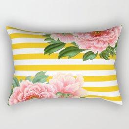 Pink Peonies Yellow Stripes Rectangular Pillow